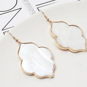 White Geometric Shell Earrings